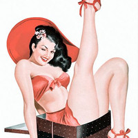 Pin Up Poster Brunette In A Box Pinup