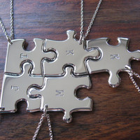 Five Initial Stamped Silver Pendant Necklaces