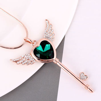 Top classic fashion angel wing crystal heart key pendant rose gold plated long necklace