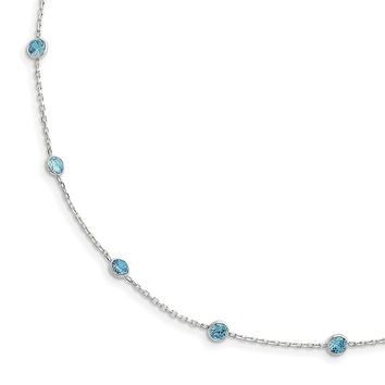 Sterling Silver Blue CZ Necklace QG2651