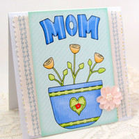 Mother's Day Card - Card for Mom - Mom Birthday - Floral - Shabby Chic Style - Fabric Square - Blank Card - Square Card - Blue Accents