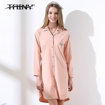 Tainy 2017 Spring Autumn New Leisure Cardigan Button Long-sleeved Cotton Nightgowns & Sleepshirts
