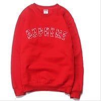 LV & Supreme tide brand joint heavy towel embroidery Chinese red caps sweater paragraph hedging sweater Red