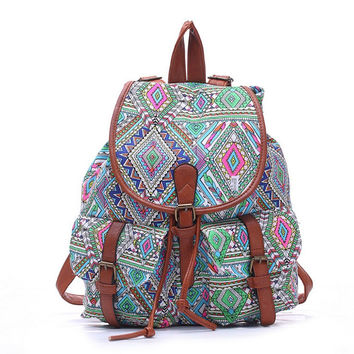 Women's Large Canvas Boho Daypack Backpack Travel Bag