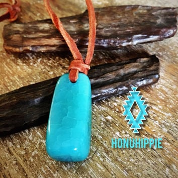 Dragon vein agate long leather necklace, boho hippie festival jewelry