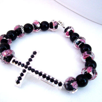 Christian Rhinestone Cross Bracelet Pink and Black Glass Beads as Religious Jewelry
