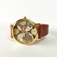 Watches for Men and Women Map Watch Vintage Style Leather  Boyfriend Watch World Map Travel Gift for Him Her Unique Spring Fashion Freeforme