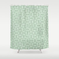 Sage Green White Petals  Shower Curtain by KCavender Designs