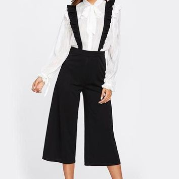Frill Suspenders Culotte Wide Leg Pants