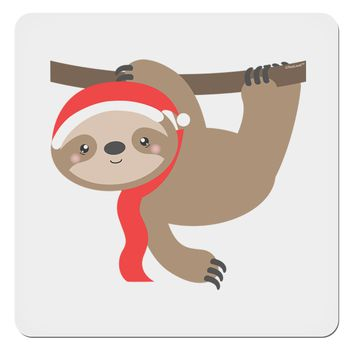"Cute Christmas Sloth with Santa Hat 4x4"" Square Sticker"