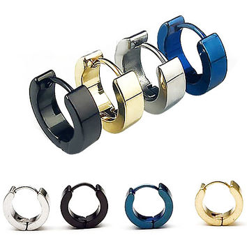 1 Pair Mens Stainless Steel Round Earrings