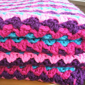 Crochet afghan throw blanket - Vintage crocheted afghan in purple fuchsia pink turquoise blue - Mothers Day gift  (Ready to ship)