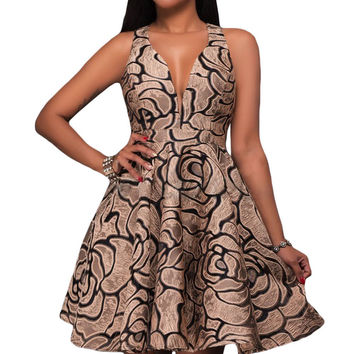 Khaki Jacquard Skater Party Dress