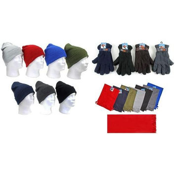 Men's Premium Knit Hats, Adjustable-Strap Fleece Lined Gloves, and Solid Scarves