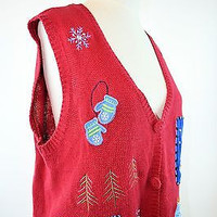 Red Ugly Sweater Vest Womens Large Christmas Cotton Blend Vest