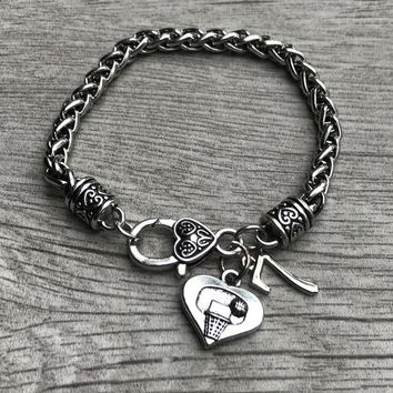 Personalized Basketball Heart Hoop Bracelet with Number Charm