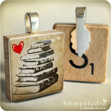Book Stack : pendant jewelry from a Scrabble tile. Necklace Scrabble piece. Home Studio jewelry gift present.