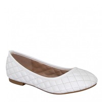 Yab Crunch-25 Quilting Design Low Top Ballerina Flats in White @ yabshop.com