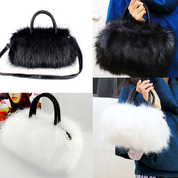 Faux Rabbit Fur Designer Female Bag