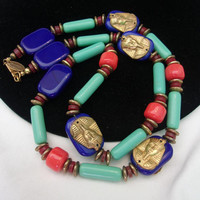 Larry Vrba for Miriam Haskell Egyptian Gold Pharaoh Glass Bead Necklace Inspired by King Tut