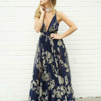 Tulle Intentions II Navy Floral Maxi Dress