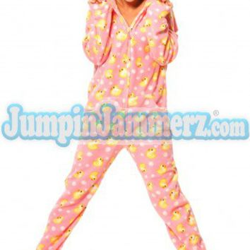 Pink Duckie - Drop Seat Hoodie - Pajamas Footie PJs Onesuit One Piece Adult Pajamas - JumpinJammerz.com