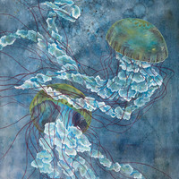 Two Jellyfish - Archival Quality Watercolor Giclee - Deep Sea Ocean Art