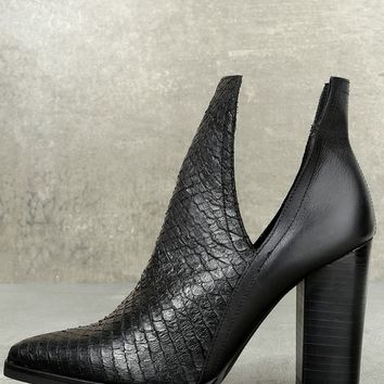 Merida Black Leather Snake Cutout Booties