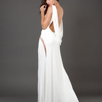 Jovani 73893 Limited Edition White Cowl Back Jersey Prom Dress Evening Gown