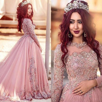 7b896b29ce4 2017 Arabic Long Sleeves A-Line Prom Dresses Vestido De Noiva New Pink  Beaded Lace