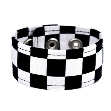 "Black & White Checkered Fabric Wristband Vegan Friendly 1-1/4"" Wide Metal"