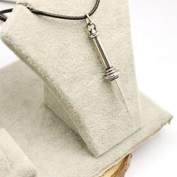 Supernatural Angel Sword Dagger High Quality Vintage Rope Leather Necklace Classic Teleplay Women And Men Pendant Necklace Gifts