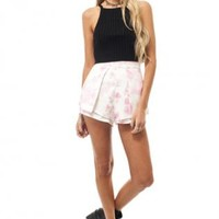 White and pink high waisted shorts