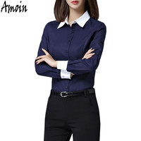 Amoin Plus Size Brand Ladies Office Professional Work Wear Uniforms Formal Business Shirts Women Long Sleeve Blouse Shirt 5XL