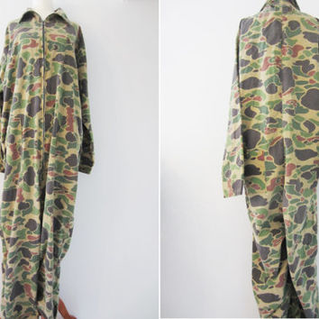 60s Saf T Bak Duck Hunting Overall, Men's M-L // Camo Overall // Vintage Jumpsuit