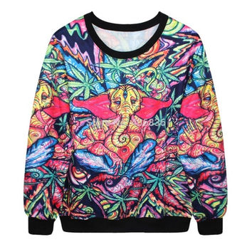 Fashion Galaxy Marijuana Leaf Weed Leaf SweatShirt 3D Elephant Digital Printed Casual Top Sexy Women's Pullover Hoodies = 1931978244