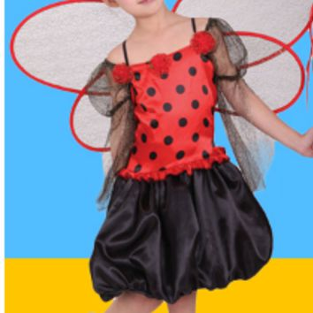 NAUGHTY LADYBUG FAIRIES DRESS WITH HEADDRESS AND WINGS
