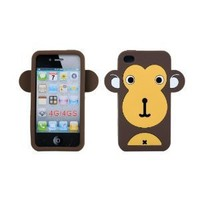 Ecomgear New Cute Big Ear Monkey Soft Silicone Case Cover Skin for Iphone 4 4s Brown