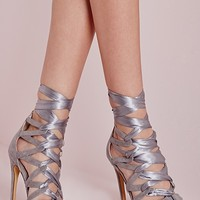 Missguided - Fabric Lace Up Geometric Heeled Sandals Grey