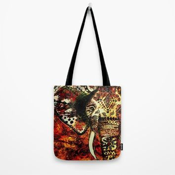 Patterned Sketched Elephant Tote Bag by Inspired Images