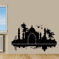 Taj Mahal Wall Decals India Design Palms Birds Wall Decor Vinyl Sticker Living Room Home Decor Vinyl Art Wall Decor Kids Nursery Decor KG606
