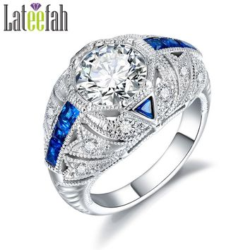 Hot Sale Male Female Charm Blue Stones Art Deco Vintage Rings Skyrim Crystal Filigre Engagement Rings For Women Factory Direct
