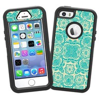 "Blue on Cream Floral Damask ""Protective Decal Skin"" for OtterBox Defender iPhone 5s Case"
