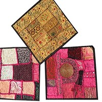 3 Pcs Ethnic Cushion Cover Patchwork Embroidered Cotton Square Pillow Cases 16x16