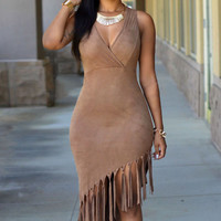 Brown V-Neck Faux Suede Sleeveless Fringed Dress