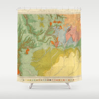 Southwest Map Shower curtain - The New Southwest Style - travel decor - home - Bathroom - maps, terracotta, green, peach, gold