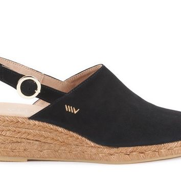 Salionca Suede Espadrille Wedge Clogs - Black