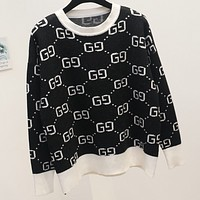 GUCCI new spring and autumn wild g letter sweater crew neck sweater women