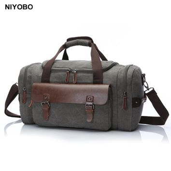 Multifunctional Men Travel Bags Large Capacity Women Luggage Duffle Bags Vintage Leather Canvas Weekend Bags Shoulder Bag Bolsa