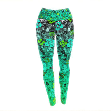 "Ebi Emporium ""Luck of the Irish"" Green Floral Yoga Leggings"